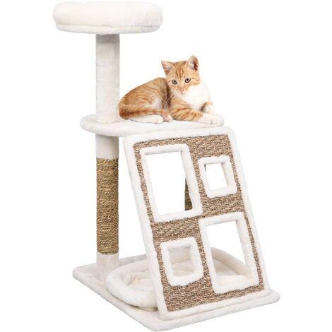 Arbre à chat coussins de luxe et grattoir 89 cm Herbiers marins