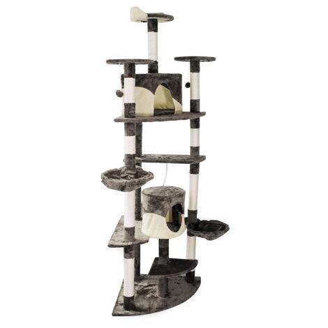 Arbre à chat d'angle gris/blanc Plateforme d'observation hamacs Niches Balles de Jeu Griffoir Sisal