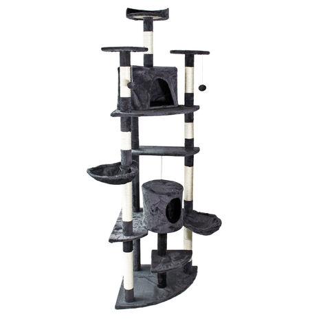 Arbre à chat d'angle Gris foncé Plateforme d'observation hamacs Niches Balles de Jeu Griffoir Sisal