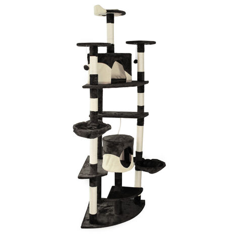 Arbre à chat d'angle noir/blanc Plateforme d'observation hamacs Niches Balles de Jeu Griffoir Sisal