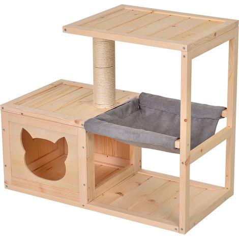 Arbre à chat design contemporain griffoir grattoir sisal naturel centre d'activités niche hamac plate-formes bois massif sapin lin gris