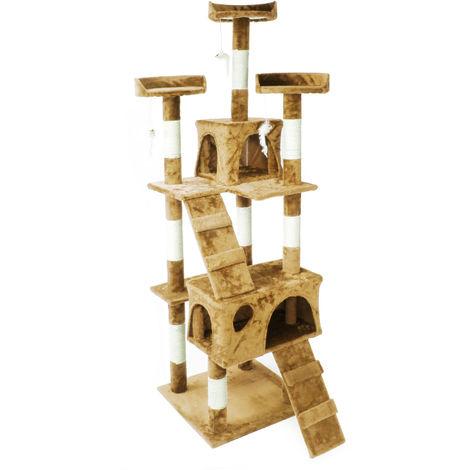 Arbre à chat en beige 170cm avec cabanes, échelles et plates-formes pour chats