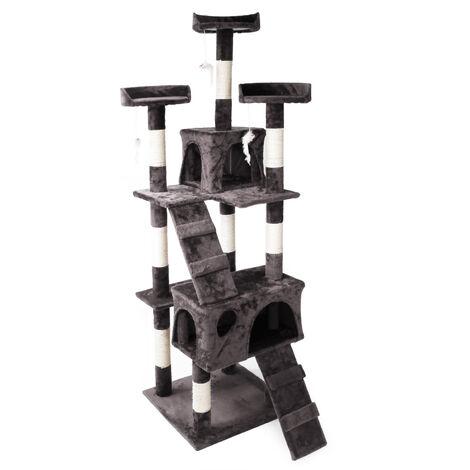 Arbre à chat en gris 170 cm avec Plate-formes Niches et Échelles Griffoir Grattoir Escalade Toboggan