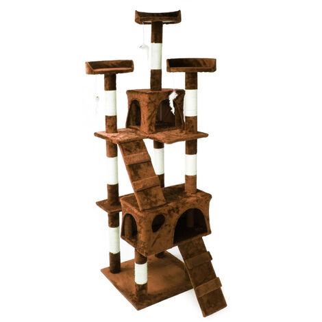 Arbre à chat en marron 170 cm avec Plate-formes Niches et Échelles Griffoir Grattoir Toboggan