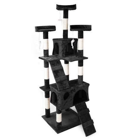 Arbre à chat en Noir 170 cm avec Plate-formes Niches et Échelles Griffoir Grattoir Escalade Toboggan