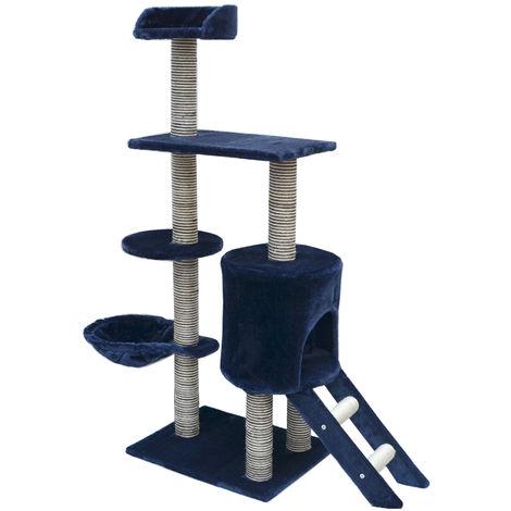 Arbre à chat en peluche sisal bleu 135 cm avec réel Sisal