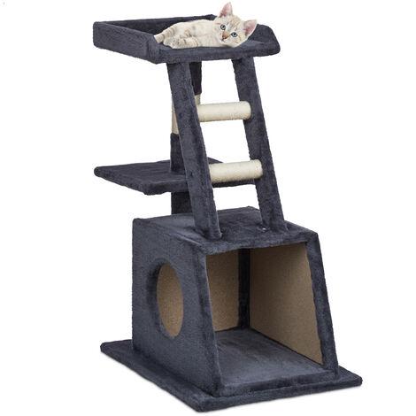 Arbre à chat, grattoir avec grotte, plateformes & escalier, faible hauteur, griffoir, HLP 77x67x41 cm, gris