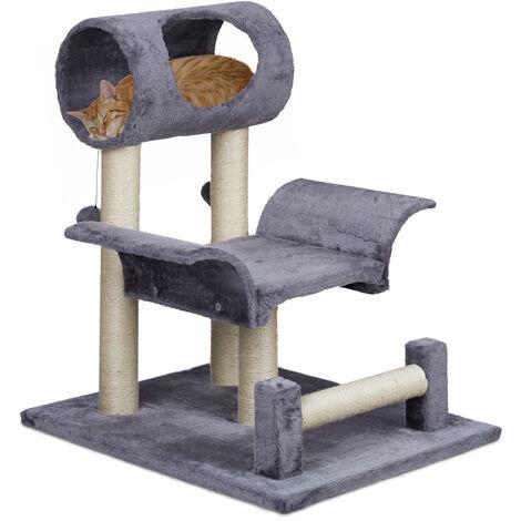Arbre à chat, grattoir avec petite grotte, griffoir solide, jouet, 4 troncs en sisal, 69 x 56,5 x 61 cm, gris