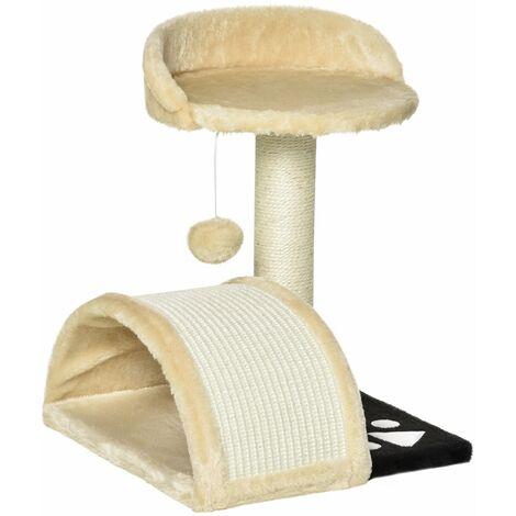 Arbre à chat griffoir grattoir design jeu boule suspendue + plateforme peluche sisal naturel beige