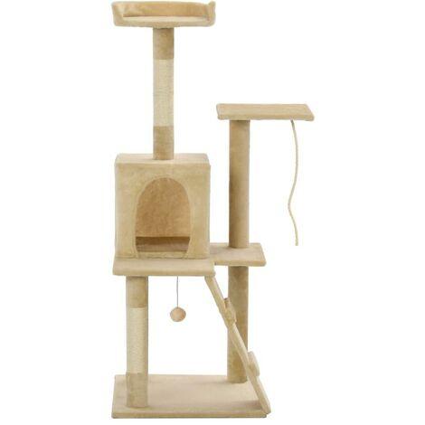 Arbre à chat griffoir grattoir niche jouet animaux peluché en sisal 120 cm beige - Beige