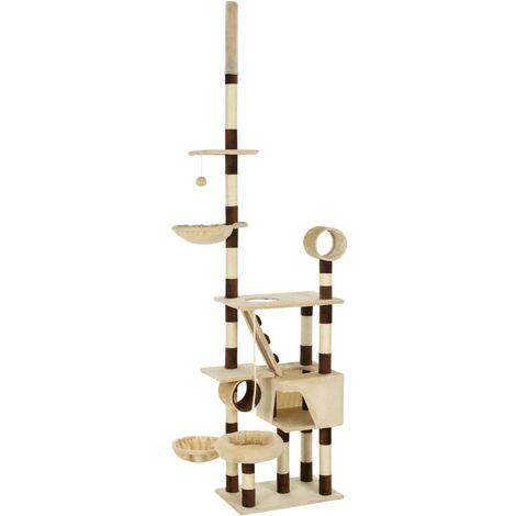 Arbre à chat griffoir grattoir niche jouet animaux peluché en sisal 246-280 cm beige et marron - Beige
