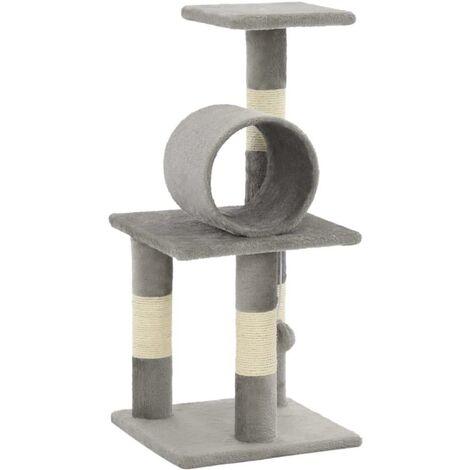 Arbre à chat griffoir grattoir niche jouet animaux peluché en sisal 65 cm gris - Gris