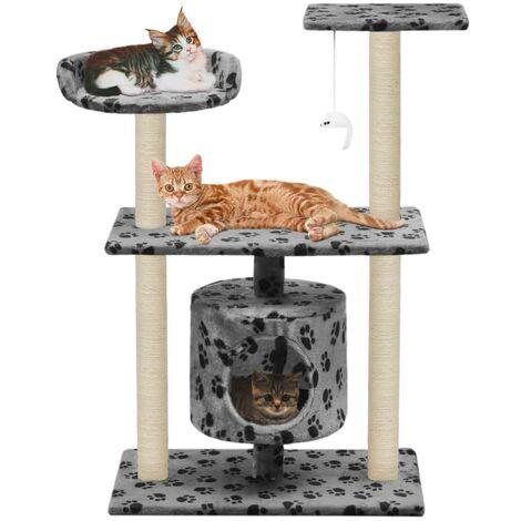 Arbre à chat griffoir grattoir niche jouet animaux peluché en sisal 95 cm gris motif de pattes - Gris