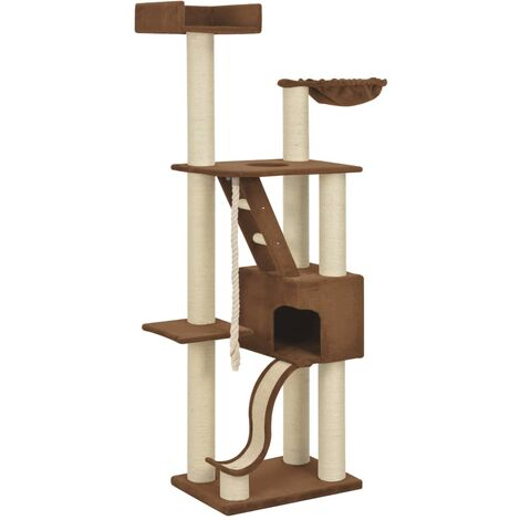 Arbre à chat griffoir grattoir niche jouet animaux peluché en sisal beige 180 cm xxl - Beige