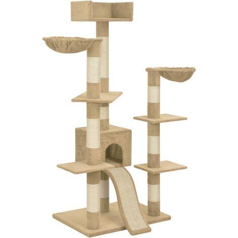 Arbre à chat griffoir grattoir niche jouet animaux peluché en sisal beige 183 cm xxl - Beige