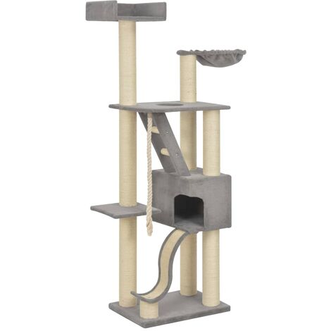 Arbre à chat griffoir grattoir niche jouet animaux peluché en sisal gris 180 cm xxl - Gris