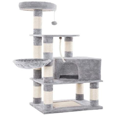 Arbre à chat, Griffoir+Niche Géant+Colonne en sisal+jouet+panier, Gris clair, Multi niveaux