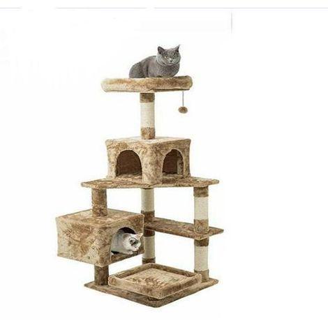 Arbre à chat , grotte + couché + jouet, multicouche (marron)