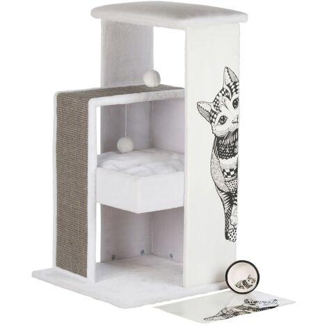 Arbre à chat maria - 101 cm, blanc/gris
