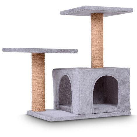 Arbre à chat Pas Cher 73/45/62 cm Stable Griffoir Plate-formes Design Simple Grande Niche Douillette