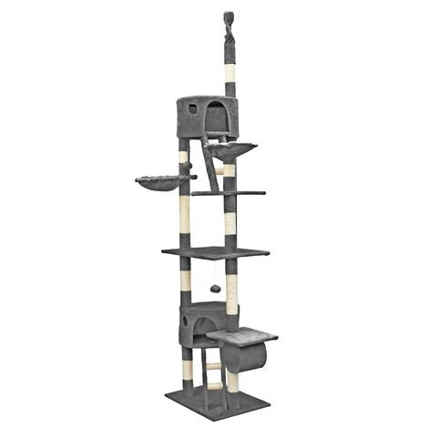 Arbre à chat Plafond 240- 260 cm en Gris avec corde en Sisal Niches et Hamacs Griffoir Grattoir