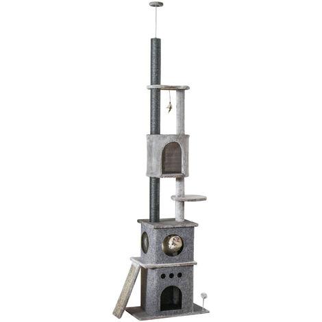 Arbre à chat poteau à griffer multi-niveaux griffoirs grattoirs jouets 2 housses amovibles hauteur réglable dim. 60L x 40l x 225-255H cm gris
