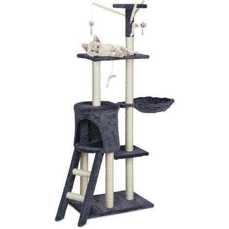 Arbre à chat, XL, grattoir solide avec grotte, panier & jouet, griffoir, 142,5 x 93 x 44,5 cm, autonome, gris