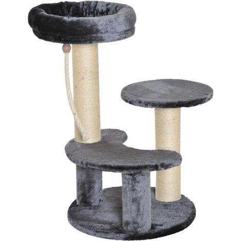 Arbre à chats 2 griffoirs grattoirs sisal naturel 3 plateformes corde à grimper dim. Ø 40 x 65H cm peluche haute densité 500 g/m² gris