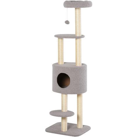 Arbre à Chats avec Griffoir Niche Poteaux Peluche Haute Densité 45L x 40L x 148H cm