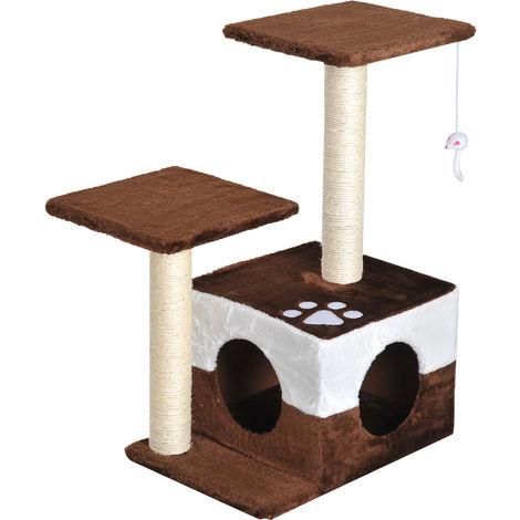 Arbre à chats avec griffoirs grattoirs sisal naturel centre d'activités niche plate-formes jeu souris suspendue 45L x 33l x70H cm marron blanc