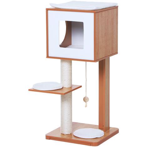 Arbre à chats design contemporain griffoir grattoir sisal naturel niche plate-forme jeu boule suspendue 50L x 40l x 91H cm MDF hêtre