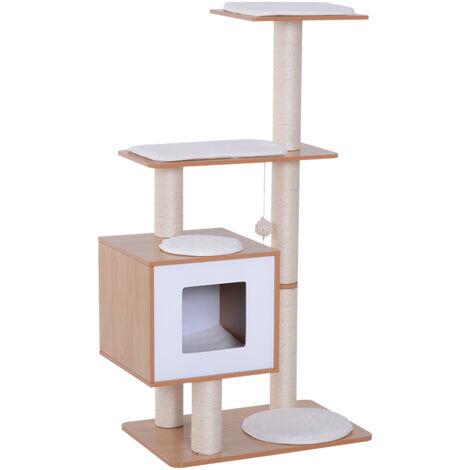 Arbre à chats design contemporain griffoirs grattoirs sisal naturel centre d'activités niche plate-formes jeu boules suspendues 66L x 47l x 120H cm MDF hêtre clair