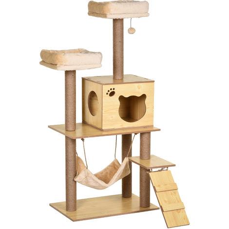 Arbre à chats design contemporain griffoirs grattoirs sisal naturel niche plate-formes hamac boule panneaux particules beige