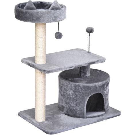 Arbre à chats griffoir sisal naturel centre d'activités niche plateformes jeu boule suspendue et à ressort gris