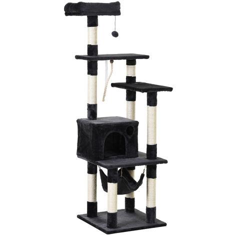 Arbre à chats multi-équipements griffoirs grattoirs plateformes niche hamac panier corde jouet suspendu dim. 50L x 50l x 156H cm gris foncé