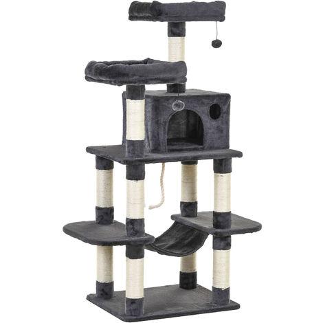 Arbre à chats multi-équipements griffoirs grattoirs plateformes niche hamac paniers corde jouets suspendus dim. 60L x 48l x 144H cm gris foncé