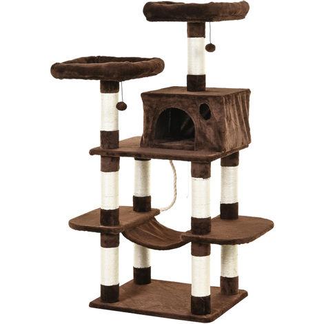 Arbre à chats multi-équipements griffoirs grattoirs plateformes niche hamac paniers corde jouets suspendus dim. 60L x 48l x 144H cm marron