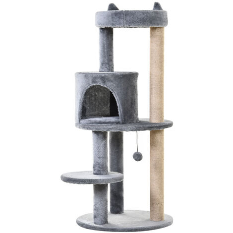 Arbre à chats multi-équipements griffoirs grattoirs plateformes niche jeu boule suspendue Ø 48 x 104H cm gris