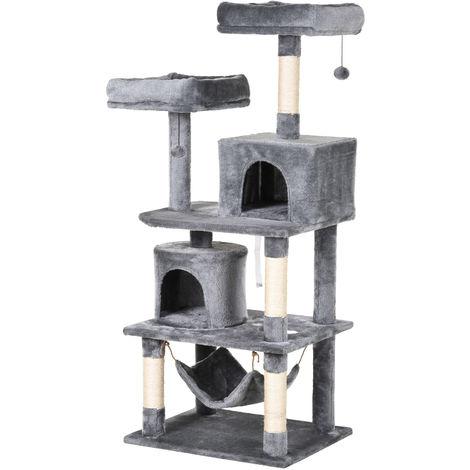Arbre à chats multi-équipements griffoirs grattoirs plateformes niches hamac paniers jouets suspendus dim. 60L x 50l x 145H cm gris foncé