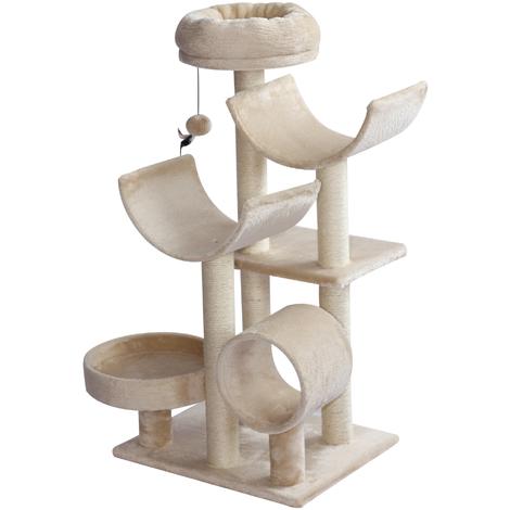 Arbre à chats multi-équipements griffoirs grattoirs plates-formes + tunnel + jouet suspendu dim. 50L x 40l x 105H cm beige