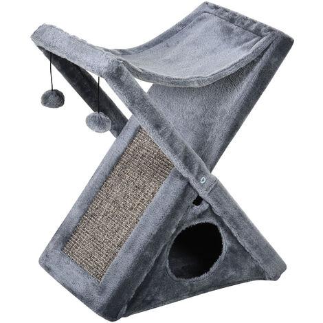 Arbre à chats pliable design grattoir sisal naturel niche hamac jeu boules suspendues gris