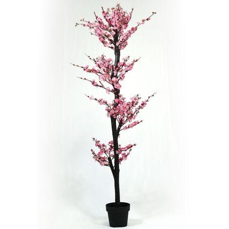 Arbre artificiel Cerisier fleurs roses Kyoto - Hauteur 180 cm -PEGANE-