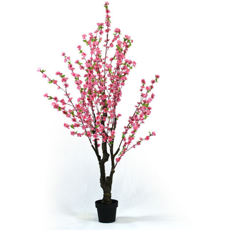 Arbre artificiel Cerisier fleurs roses Osaka - Hauteur 180 cm -PEGANE-