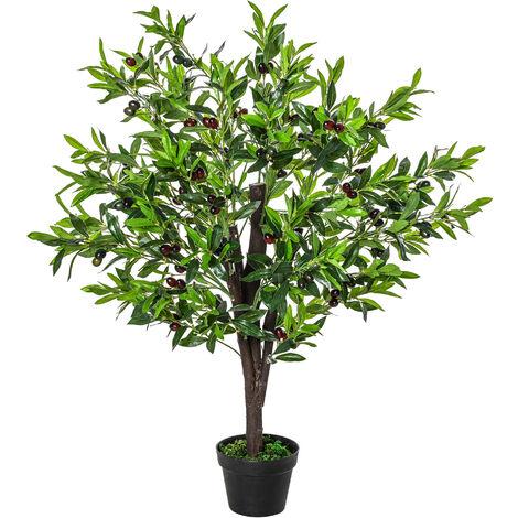 Arbre artificiel olivier plante artificiel hauteur 1,2 m tronc branches lichen feuilles grand réalisme pot inclus