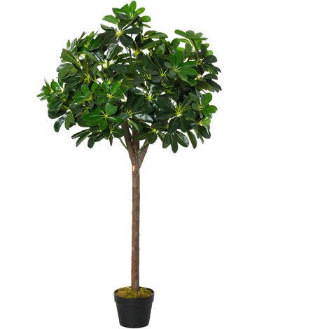 Arbre artificiel plante artificiel Alstonia scholaris hauteur 1,2 m tronc branches lichen 693 feuilles grand réalisme pot inclus