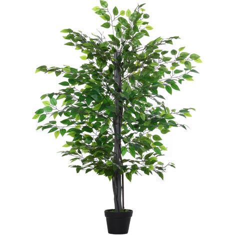 Arbre artificiel plante artificiel banyan hauteur 1,45 m tronc branches liane lichen feuilles grand réalisme pot inclus