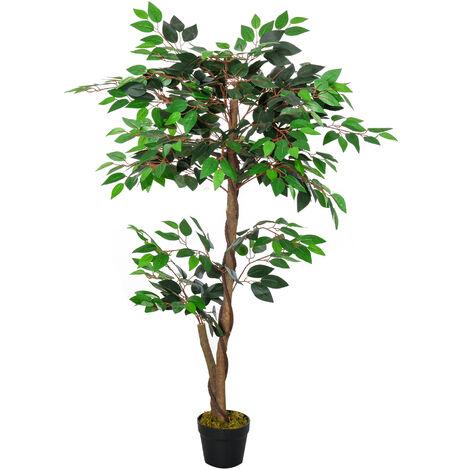 Arbre artificiel plante artificiel ficus hauteur 1,2 m tronc branches liane lichen feuilles grand réalisme pot inclus