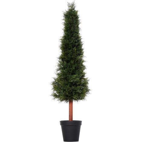 Arbre artificiel sapin plante artificiel hauteur 1,5 m tronc bois naturel feuillage grand réalisme vert foncé pot inclus