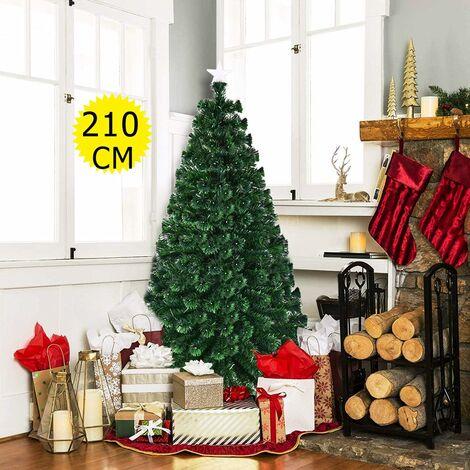 Arbre de Noël LED artificiel sapin éclairage multicolore 210cm