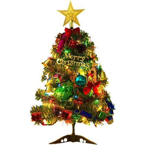 Arbre de Noël de Table de 50cm,Arbre de Noël Artificiel Mini Sapin de Noël Artificiel avec lumières LED et Ornements Arbre de Noël artificiel Décoration de Noël Arbre de Noêl Sapin de Noël Artificiel